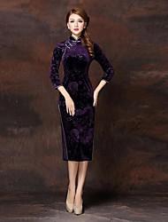 Women's Blue/Red/Green/Purple Dress , Vintage/Bodycon ¾ Sleeve