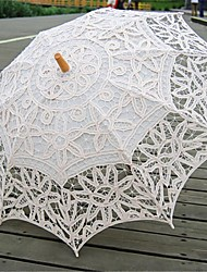 "Wedding Cotton Umbrella Post Handle Beige 26.8""(Approx.68cm) Wood 30.7""(Approx.78cm)"