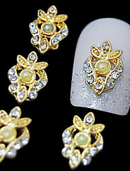 10pcs  Golden Luxurious 3D Alloy Rhinestone  Nail Art Decoration