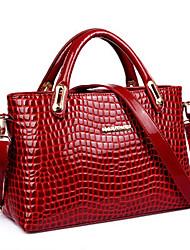 Women PU / Patent Leather Shopper Shoulder Bag / Tote - Blue / Red / Black