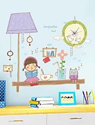 Часы настенные наклейки наклейки на стены, мультфильм девочка утром чтение пвх наклейки