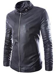moda masculina casaco de couro pu magro