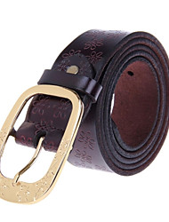 POUCH KAN Women  Fashionable Head Layer Cowhide Leather Zinc Alloy Buckle Belt