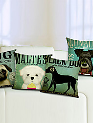 conjunto de 4 cão algodão / linho fronha decorativo