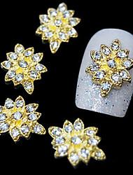 10шт золотой шестерня цветок 3d сплав горный хрусталь ногтей украшения