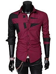Glory Shirt Collar Long Sleeve Solid Color Splicing Shirt