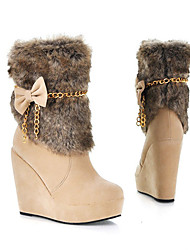 Fashion Style Bowknot Decorated Boots Beige