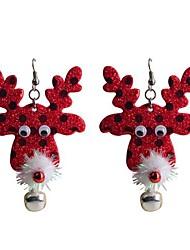 lureme Mode leuchtenden Pulver Weihnachten Rot die Tropfenohrhirschkopf-Legierung
