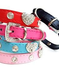 Cat / Dog Collar Rhinestone Red / Black / Blue / Pink / Rose PU Leather