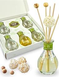 aromall® junco petróleo fragrância difusor cinco sets 40ml mini-bolas de garrafas de vidro rattan&contas de madeira decorado