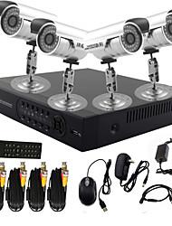 twvision® 4 canais sistema DVR CCTV com controle PTZ (4 câmera à prova d'água ao ar livre)