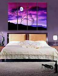 e-home® esticada arte da lona sob um conjunto pintura decorativa da árvore de 4