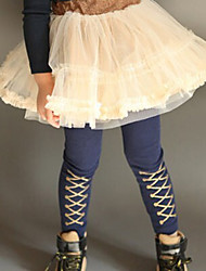 Gold Crossover Pattern Embellished Cotton Pants Blue