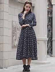 De las mujeres Corte Swing Vestido Vintage / Casual Estampado Midi Escote Chino Seda