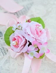 Wedding Flowers Hand-tied Roses Wrist Corsages Wedding Party/ Evening Cotton