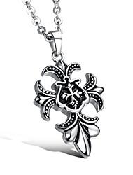 Titanium Steel Casting Man Necklace Exquisite Double Cross