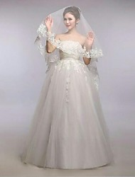 Graceful One Tire Chapel Bridal Veils with Scalloped Lace Trim  ASV19