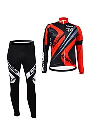 KOOPLUS Unisex Spring Autumn Customized Cycling Clothing Long Sleeve Jersey Pants Polyester Cycling Suit-Black+Red