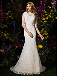 Lanting Bride Lanting Trumpet/Mermaid Wedding Dress - Ivory Court Train Bateau Lace / Tulle