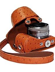 pajiatu pu leer struisvogel graan camera beschermende case tas hoes voor sony nex-5r nex-5t nex-5 tl 5r 5t 16-50mm lens