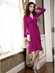 Women's Solid Pink Dress , Vintage/Sexy/Beach/Casual/Cute/Party/Work Deep V/Surplice Neck Long Sleeve Ruched