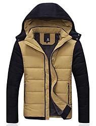MANWAN WALK®Men's Patchwork Casual Slim Down Coat.Thick Warm Fleece Lining Hooded Cotton-Padded Jacket.