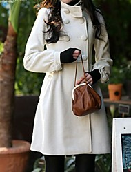 Double Breasted Long Sleeve Elegant Coat White