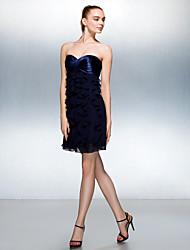 Cocktail Party Dress - Dark Navy Plus Sizes / Petite A-line Sweetheart Short/Mini Stretch Satin / Georgette