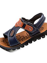 Sandales (Noir/Bleu) - Cuir - Glissez/Confort/Bout ouvert