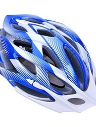 moda unisex y de alta transpirabilidad pc + epp casco de bicicleta con visera desmontable (24 tiros) - azul + plata