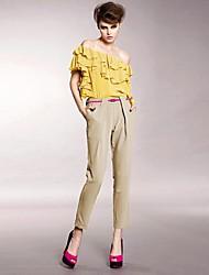 JOANNE KITTEN Women's Blue/Brown/Gray Skinny Pants , Vintage/Bodycon/Casual/Work