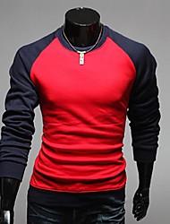 Quteng Men's Round Neck Long Sleeve Shirt