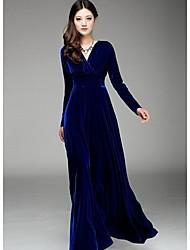 Q.S.H Women's V Neck Solid Color Silk Dress