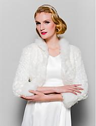 Fur Wraps 3/4 Sleeve Faux Fur Cassual&Wedding&Special Occaion Shawls/Evening Jacket Bolero Shrug
