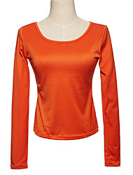élégant collier de col U pur t-shirt orange,
