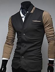 Hongda Men's  Single Button Candy Color Coat