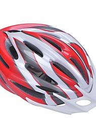 высокой воздухопроницаемостью PC + EPS черный велосипедный шлем со съемным солнцезащитный козырек (21 отверстия) - красный + серебристый