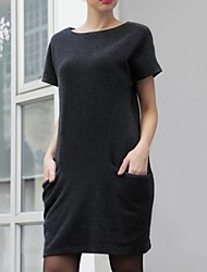 Women's Round Collar Solid Color Short Sleeve Casual Dress (More Colors)
