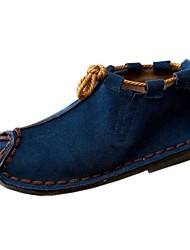 Men's Shoes Casual Leather Boots Gray/Navy