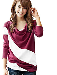 Yuwinne Women's Round Neck Stripe Loose Fit T-Shirt