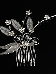 Fashion   Flower Leaf Bridal Tiara Silver Plated Crystal Headpiece Hair Comb