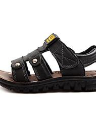 Sandales ( Noir ) - Cuir - Glissez/Confort/Bout ouvert