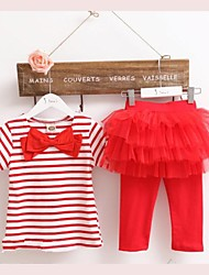 Girl's Fashion 2pcs Stripe Bow Top T-shirt + Tutu Skirt Leggings Culottes Child Clothes Sets