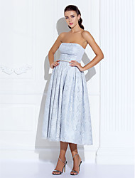 Cocktail Party / Prom / Holiday Dress - Silver Plus Sizes / Petite A-line Strapless Tea-length Satin / Lace