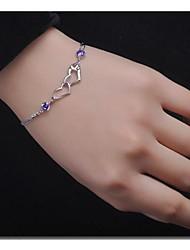Bracelet double cœur d'impression de 925 femmes