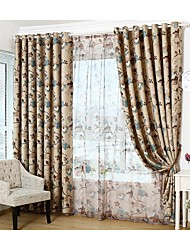 Room Darkening Printing  Flower Curtains Drapes Two Panel