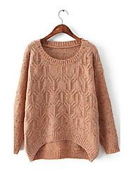 lana de cuello redondo de color sólido kintwear de Wantang mujeres