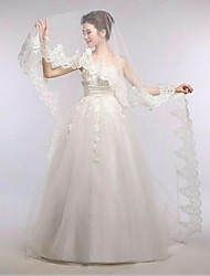 Gorgerous One Tire Chapel Bridal Veils with Vintage Lace Trim ASV22