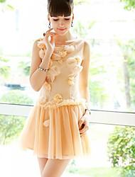 sólido vestido de malha cor chiffon das mulheres dabuwawa