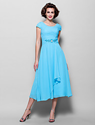 Lanting A-line Plus Sizes / Petite Mother of the Bride Dress - Pool Tea-length Short Sleeve Chiffon